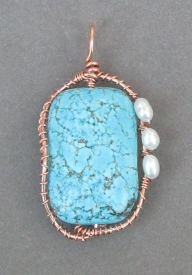 Wire-wrapped Magnesite Bead Pendant